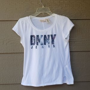 DKNY Jeans white graphic tee Large L